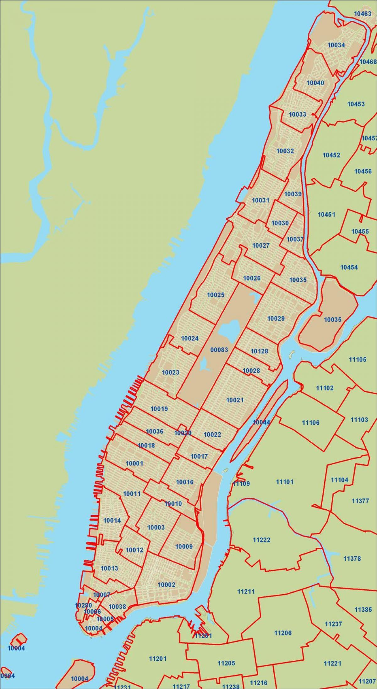 Manhattan Postinumero Kartta Nyc Postinumero Kartta Manhattan
