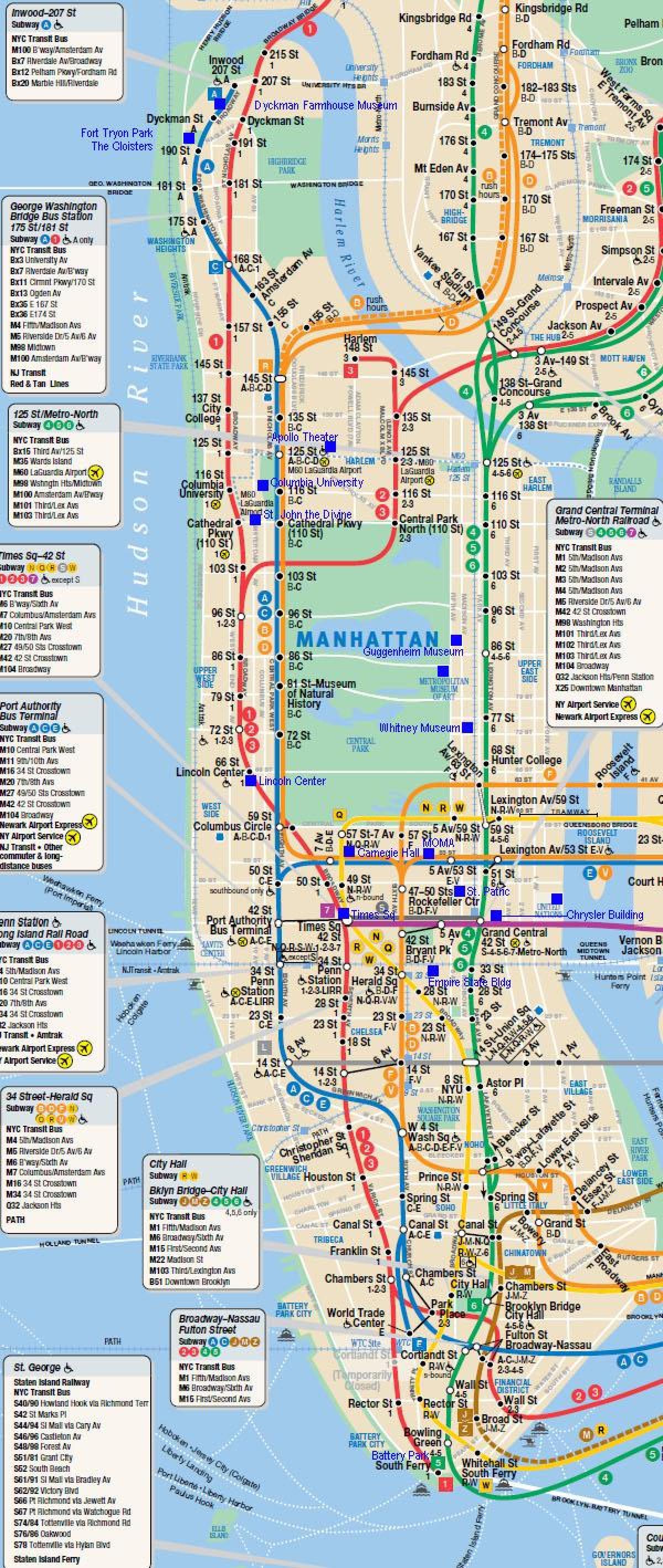 Manhattan Juna Kartta Manhattan Rail Map New York Usa